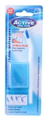 BEAUTY FORMULAS Active Oral Care Interdental Szczoteczka+10 główek 0.45 micro