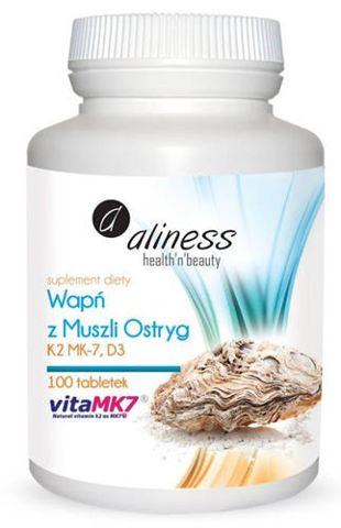 ALINESS Wapń z muszli ostryg z witaminami K2 MK7 i D3 x 100 tabletek