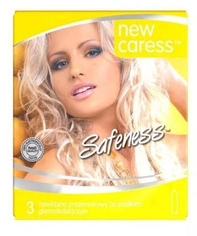 Caress Safeness Prezerwatywy nawilżane ze środkiem plemnikobójczym x 3 sztuki