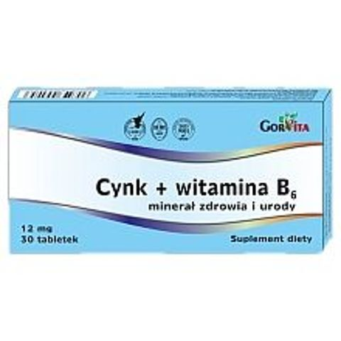 Cynk + witamina B6 12mg  x 30 tabletek