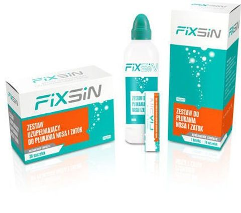 FIXSIN Zestaw podstawowy do płukania nosa i zatok 1 butelka + 10 saszetek