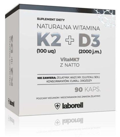 Naturalna Witamina  K2 100 uq VitaMk7 + D3 x 90 kapsułek