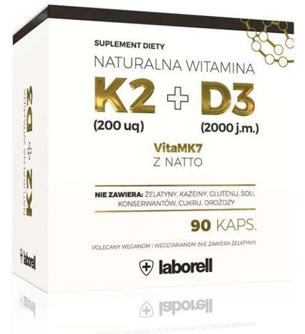 Naturalna Witamina K2 200 uq VitaMk7 z Natto+ D3 x 90 kapsułek