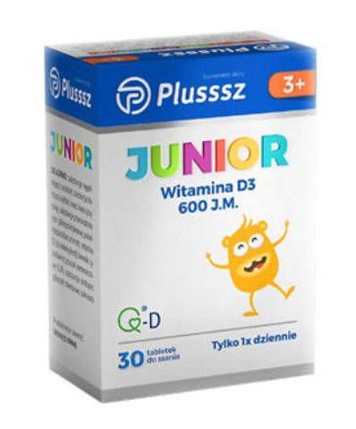 Plusssz Junior D3 600j.m. smak pomarańczowy x 30 tabletek do ssania