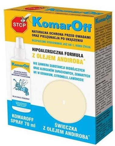 KomarOff Spray 70ml + Świeczka z olejem andiroba Gratis!
