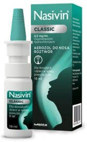 NASIVIN Classic 0,5mg/ml aerozol do nosa10ml