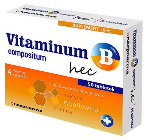 Vitaminum B compositum hec x 50 tabletek - data ważności 31-08-2019r.